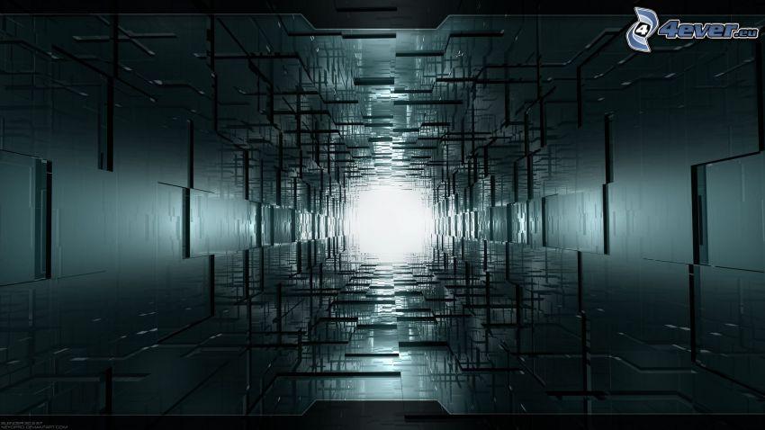 tunnel, fyrkanter, korridor