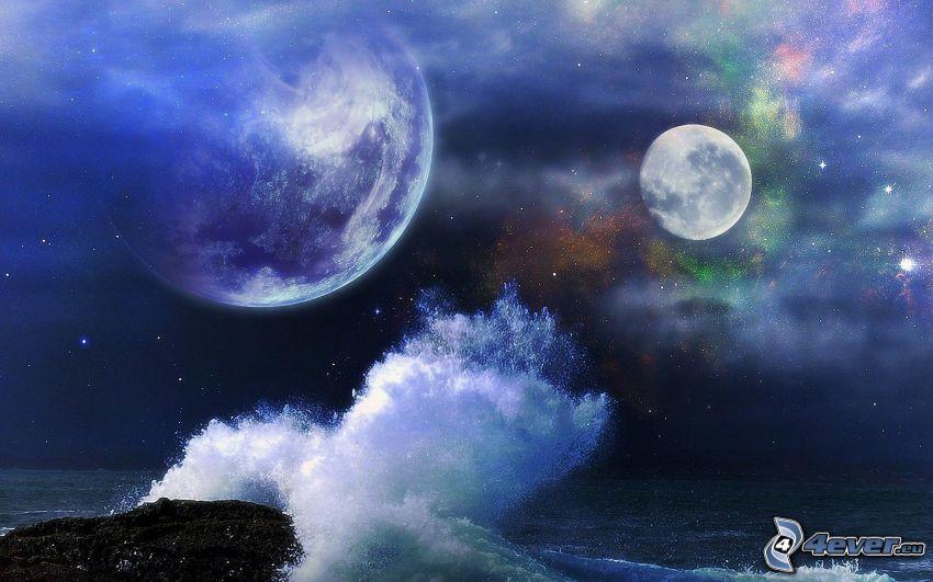 två månar, våg, hav