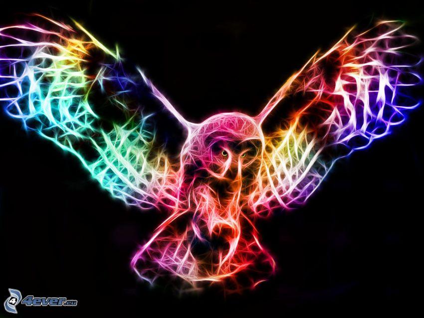 uggla, fraktal fågel