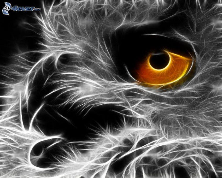 uggla, öga, fraktal fågel