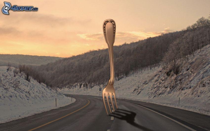 väg, gaffel, snö, träd, efter solnedgången