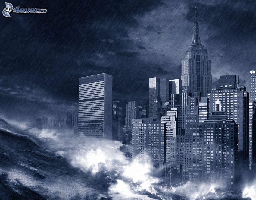 våg, skyskrapor, regn