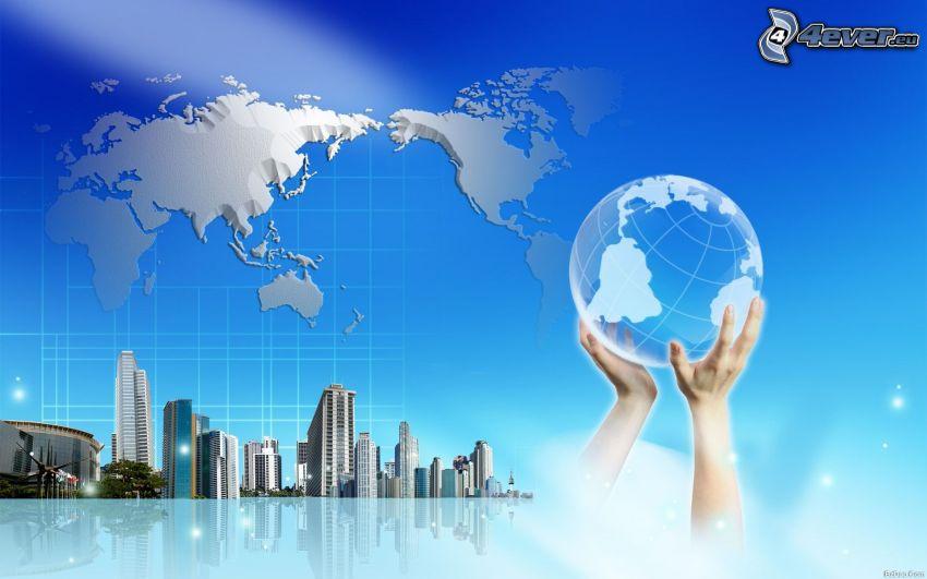 världskarta, Jorden, händer, skyskrapor