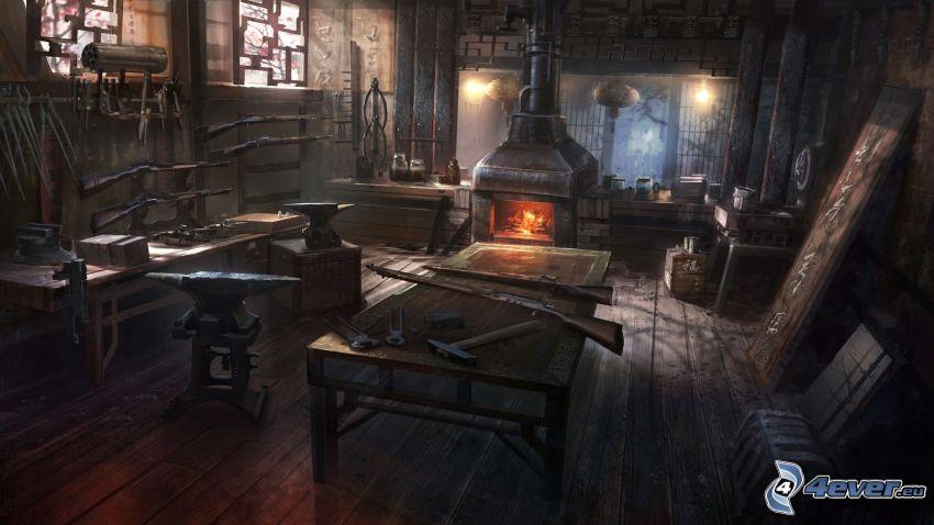verkstad, bord, redskap, eldstad