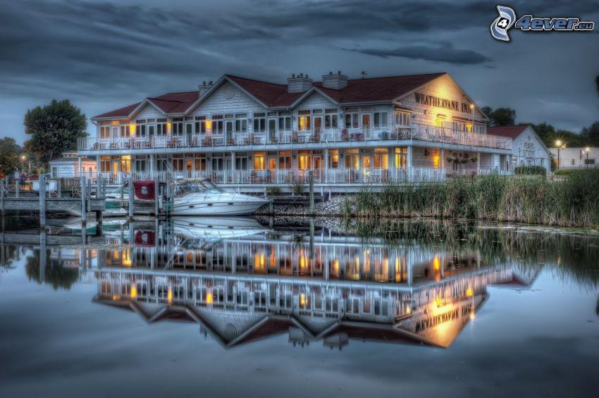 villa, sjö, båt, kväll, spegling, HDR