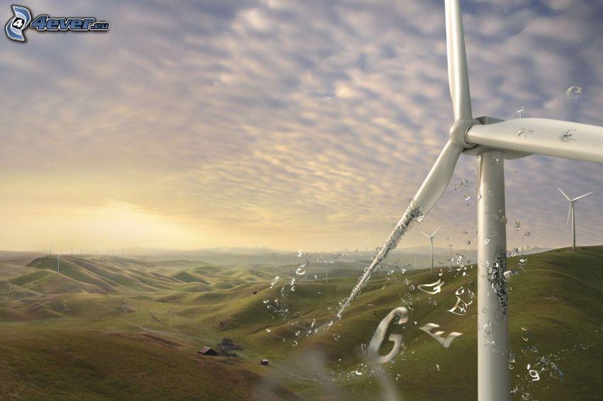 vindkraftsverk, landskap, bokstäver, moln