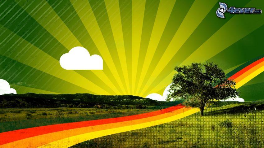 virtuell äng, ensamt träd, träd på äng, solstrålar
