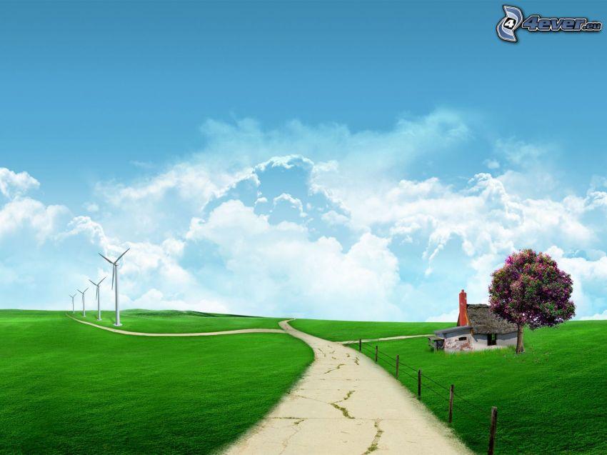 virtuell äng, väg, övergivet hus, träd, vindkraftsverk