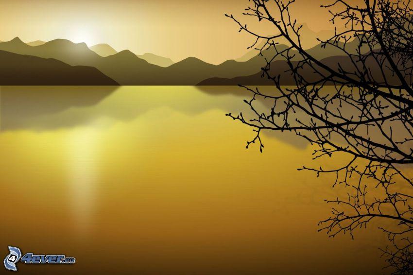 digitalt landskap, sjö, tecknat träd, bergskedja