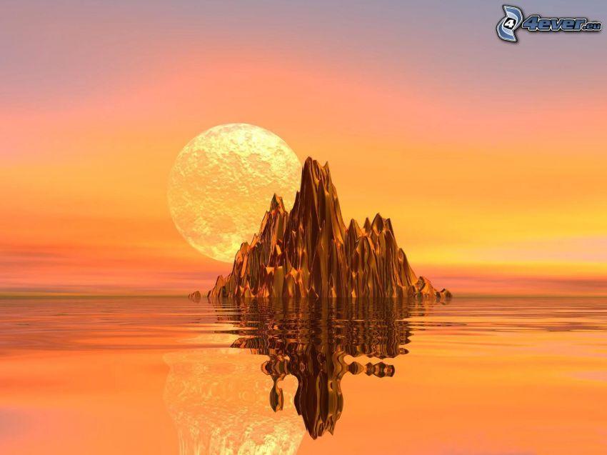 digitalt vattenlandskap, kvällsjus, måne över huvudet, hav, ö