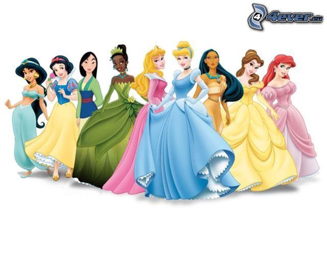 Disney prinsessor, Snövit, Askungen, Pocahontas, Törnrosa, Mulan, Jasmine