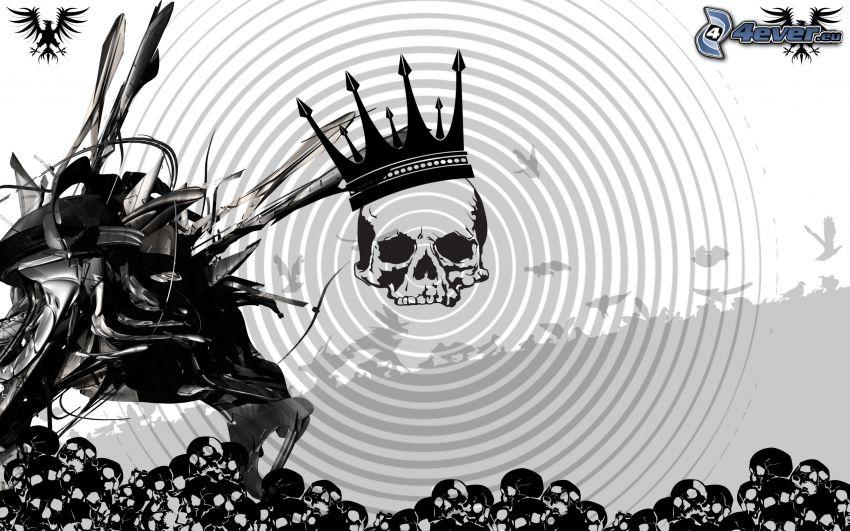 dödskallar, cirklar, krona, abstrakt