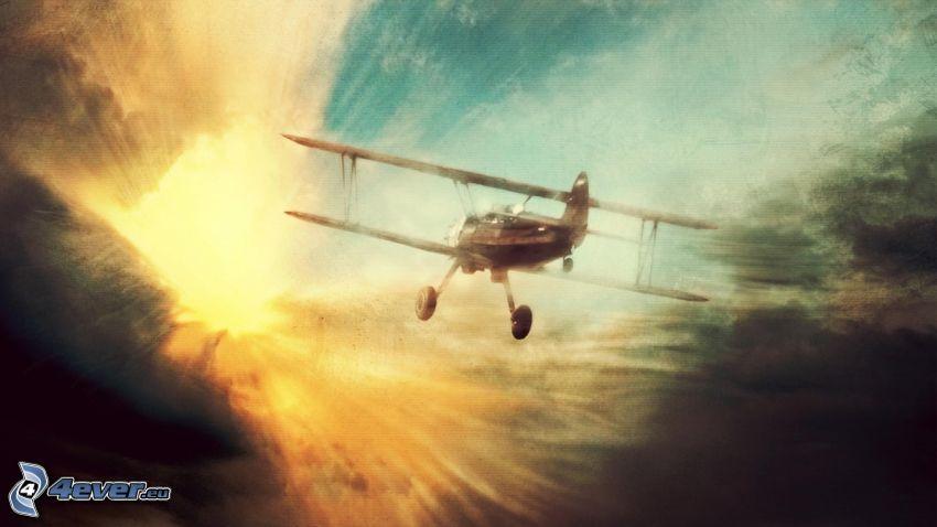 dubbelvingat flygplan, himmel