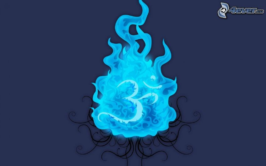 eld, blå