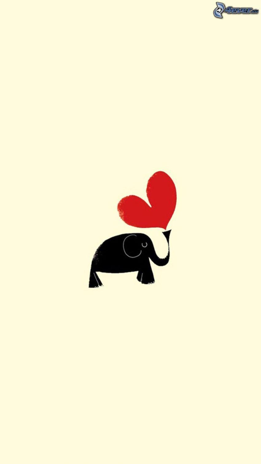 elefant, hjärta