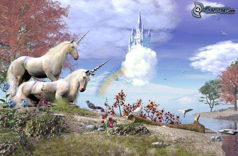 enhörningar, hästar, tecknat, slott