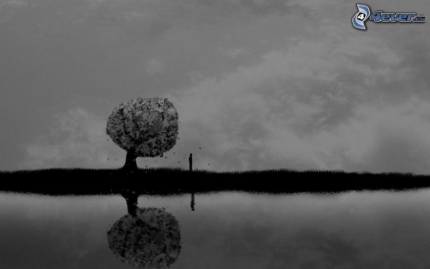 ensamt träd, silhuett av man