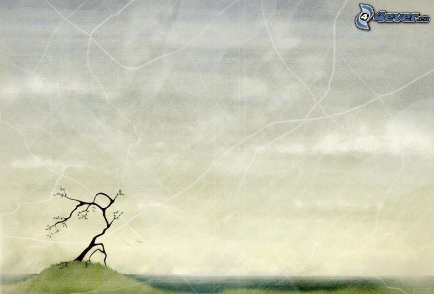 ensamt träd, tecknat träd