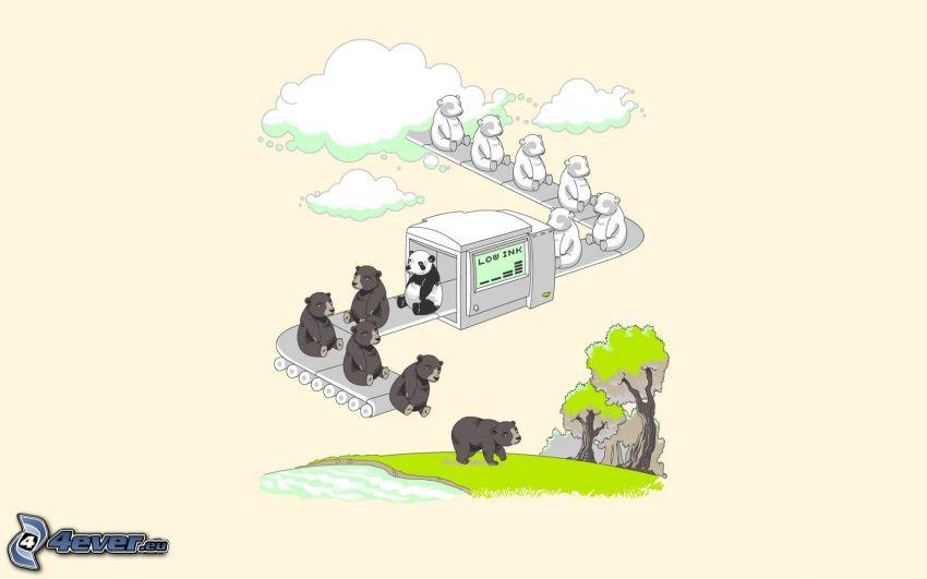fabrik, pandor, björnar