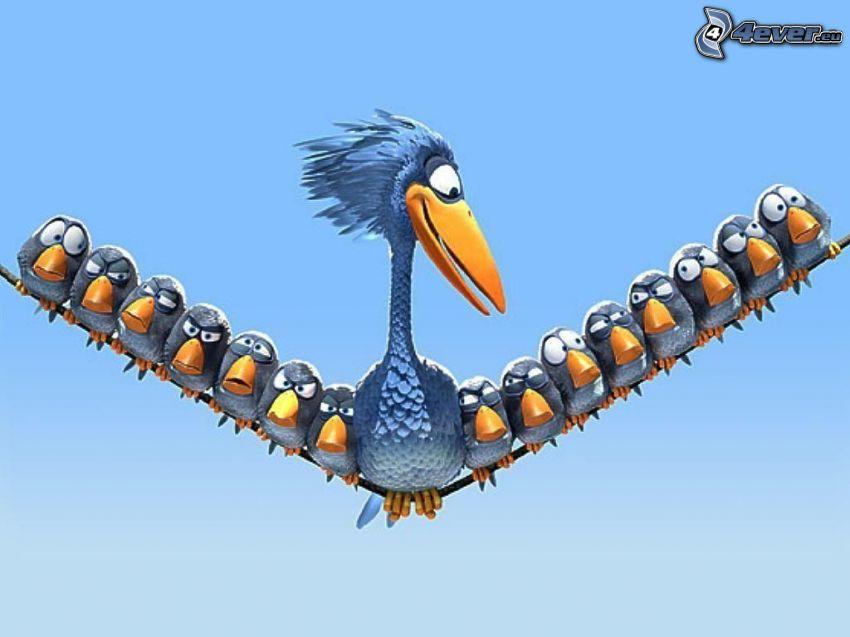 fåglar, ungar, tecknat, ståltråd