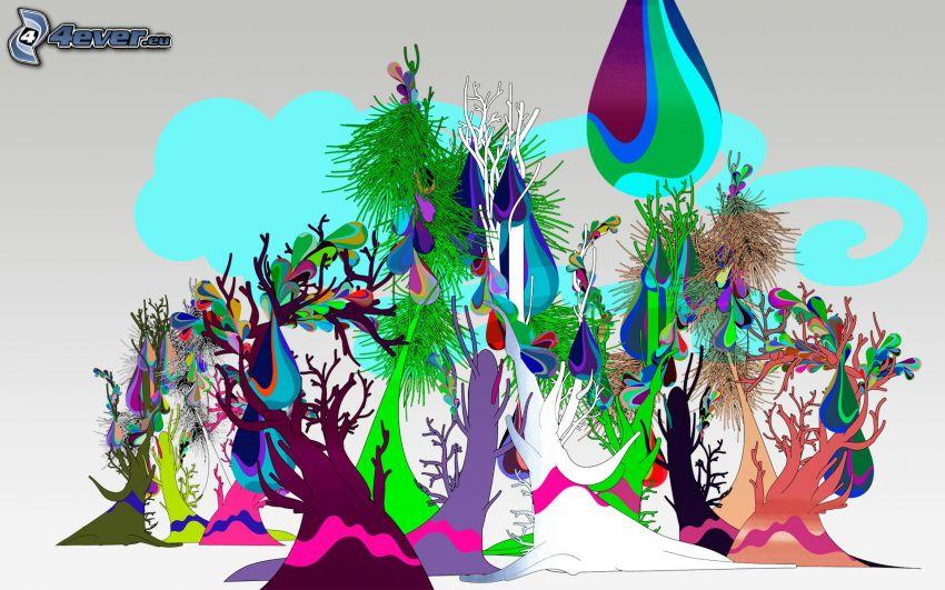 färggrann skog