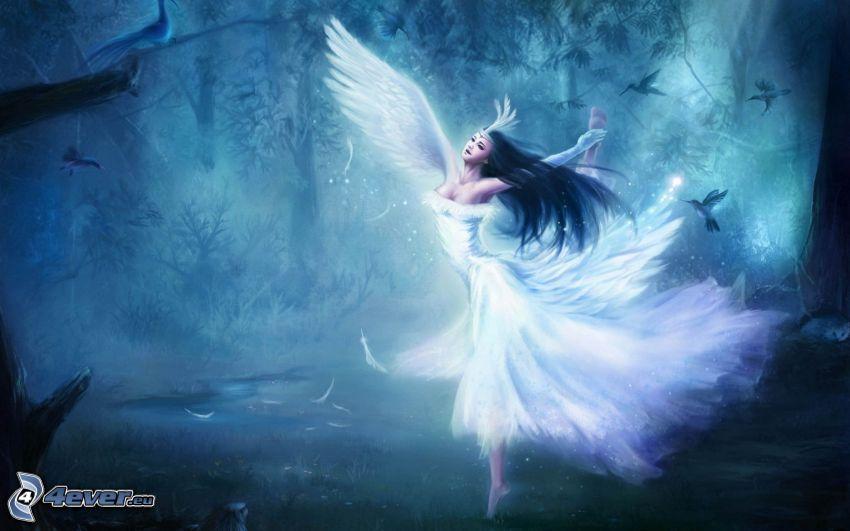 fe, ängel, skog