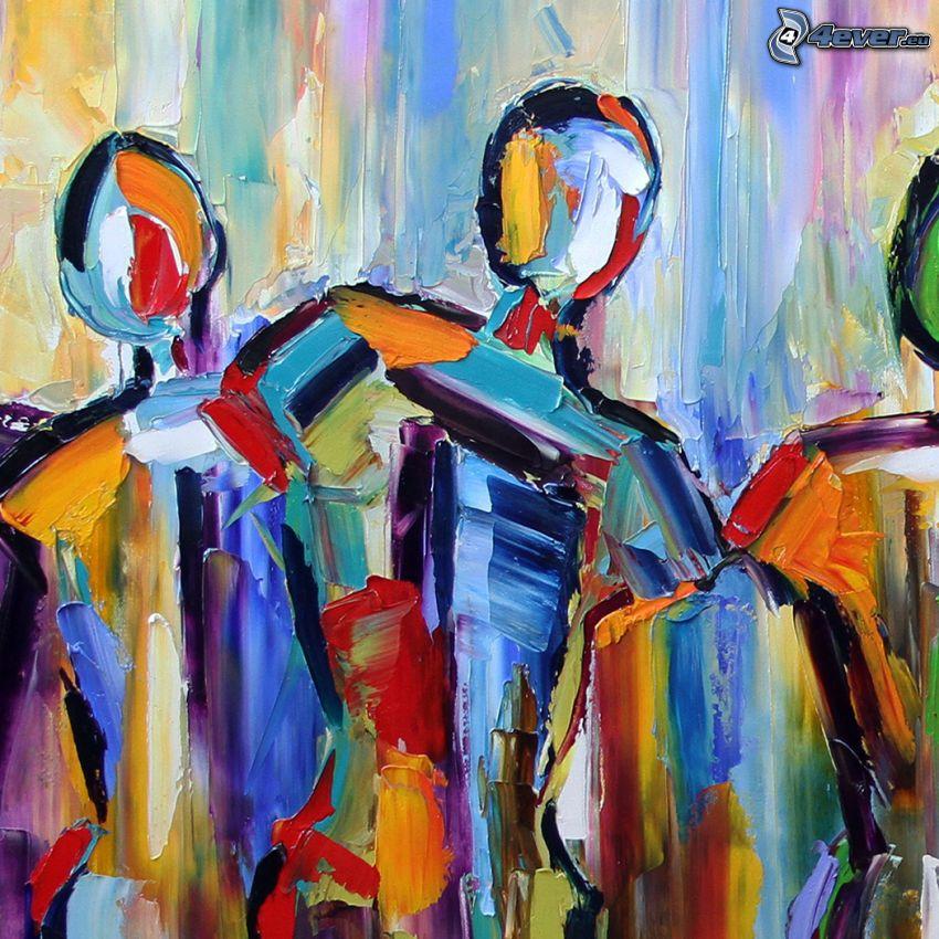 figurer, silhuetter av människor, färger