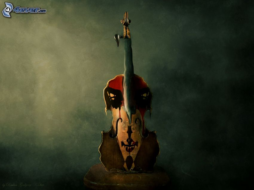 fiol, bild, konst