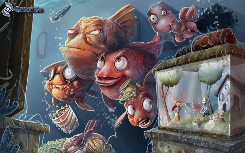 fiskar, akvarium, pojke och flicka, hus, tvärtom