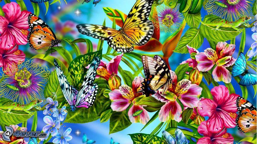 fjärilar, färgglada blommor