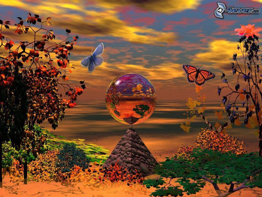 fjärilar, pyramid, digitalt landskap, sand