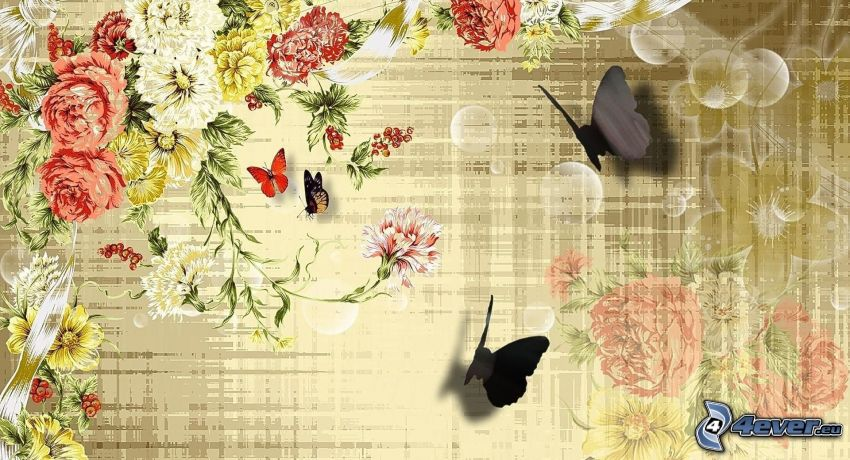 fjärilar, tecknade blommor