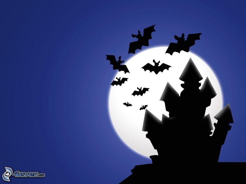 fladdermöss, slott, måne, siluetter