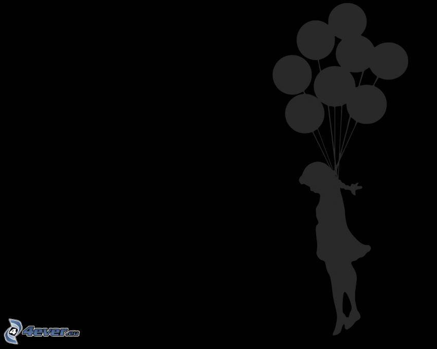 flicka, ballonger, hängd, siluetter, svart bakgrund