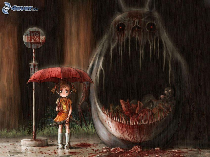 flicka, paraply, rädsla, monster, käftar, regn
