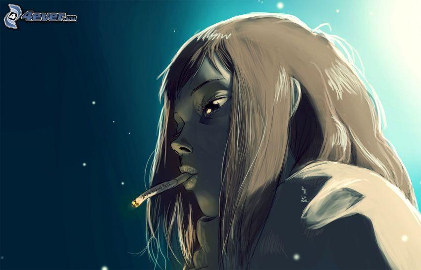 flicka med cigarett, tecknad flicka