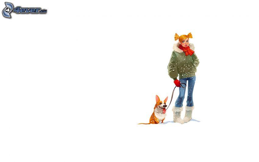 flicka med hund, snöfall