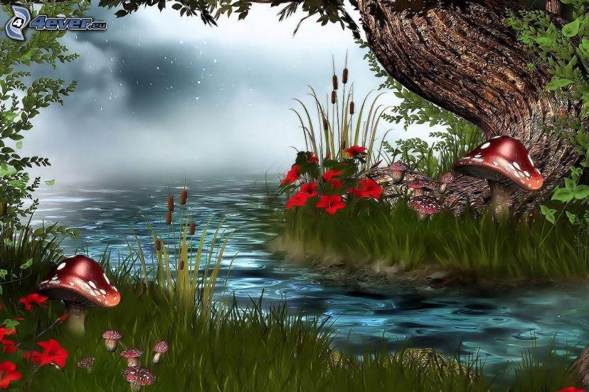 flod, svampar
