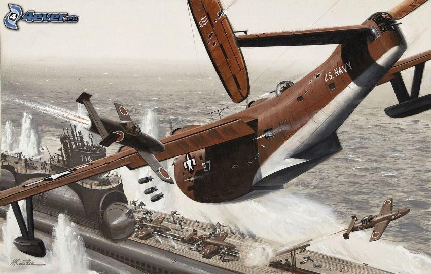 flygplan, båt, bombning