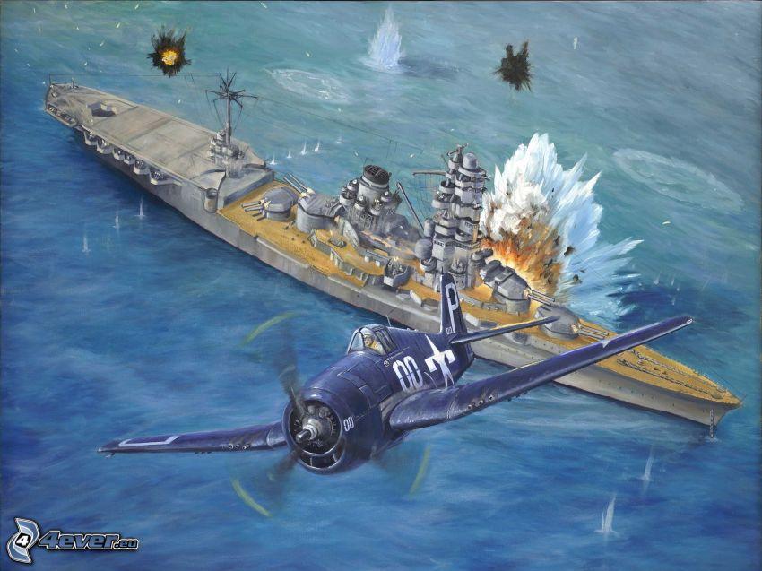 flygplan, båt, explosion