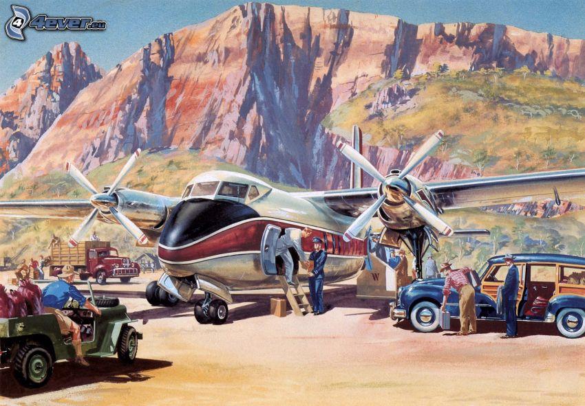 flygplan, bilar, människor, stenig backe