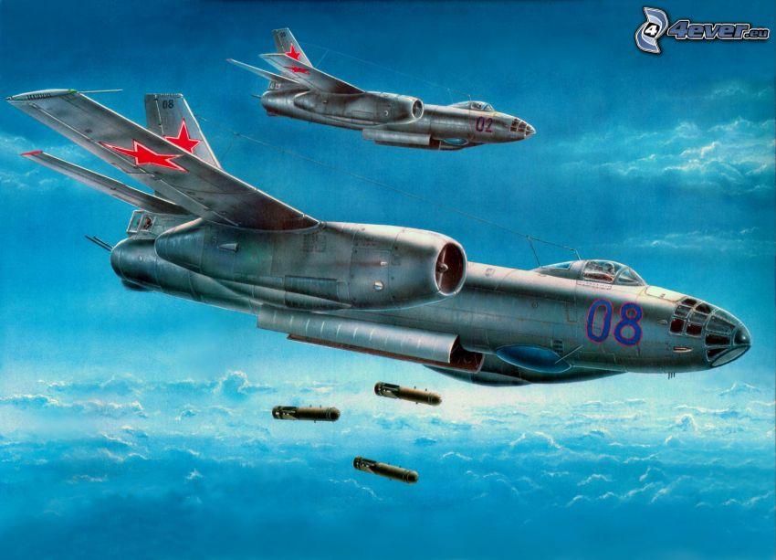 flygplan, bombning, ovanför molnen