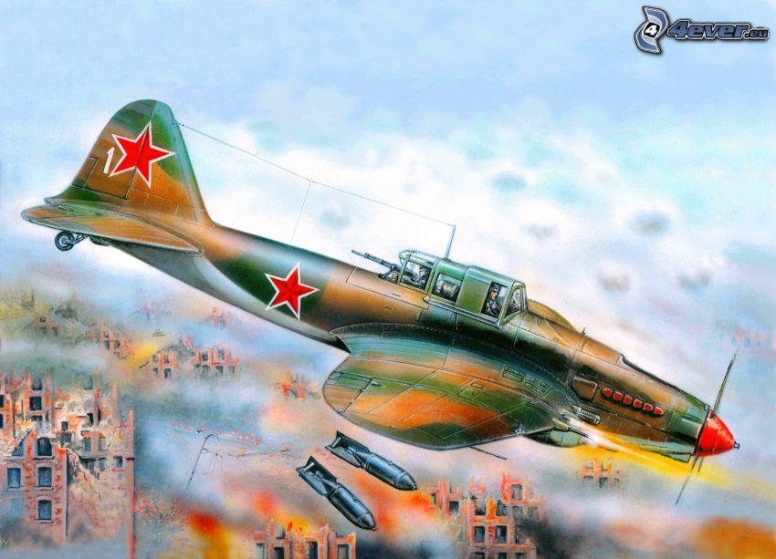 flygplan, bombning