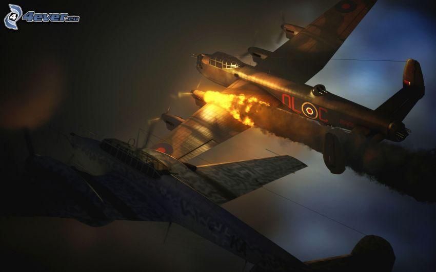 flygplan, flamma