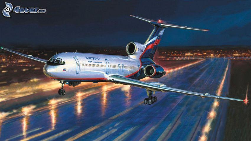flygplan, flygstart, startbana