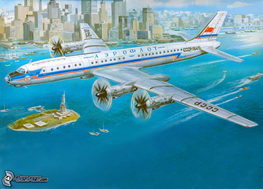 flygplan, hav, stad