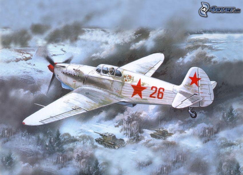 flygplan, ovanför molnen, tankar, snöigt landskap