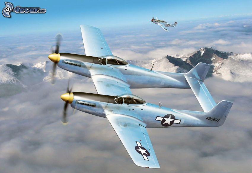 flygplan, ovanför molnen