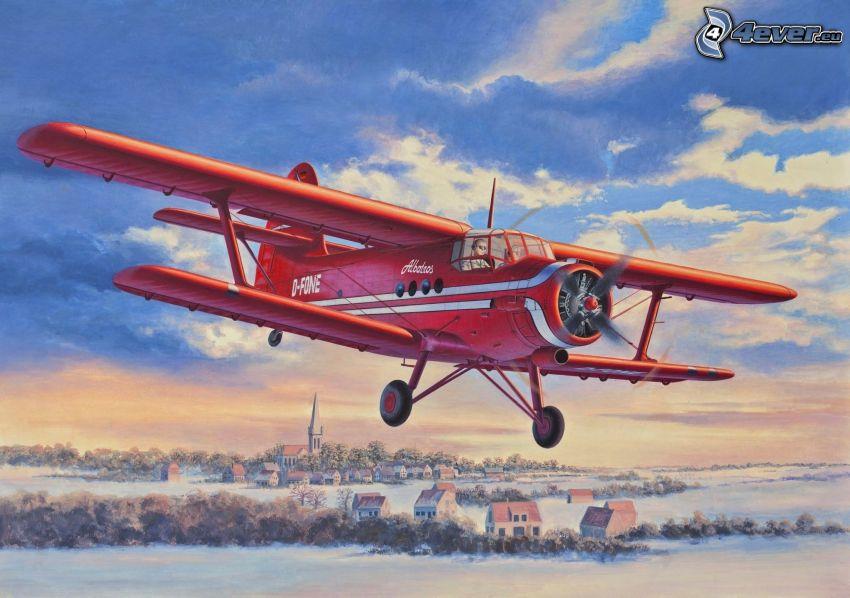 flygplan, snöig by