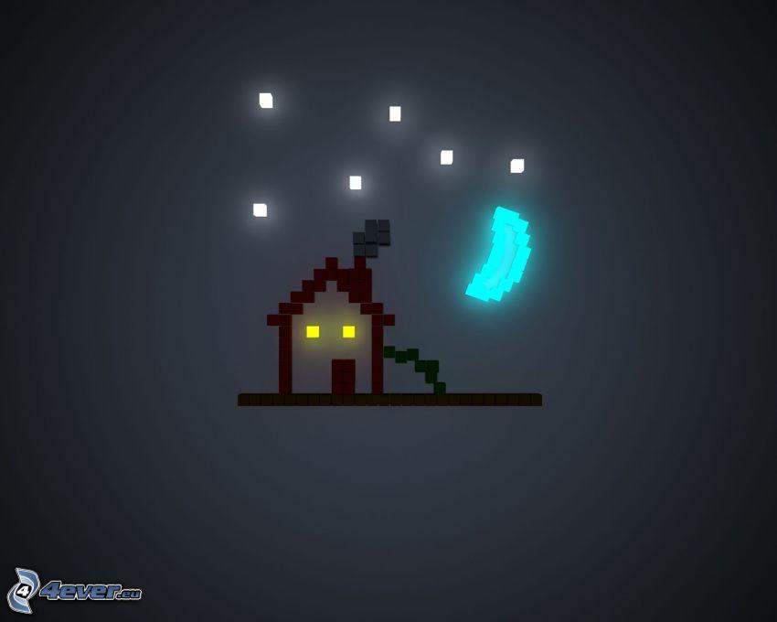 gammalt hus, pixel, fyrkanter